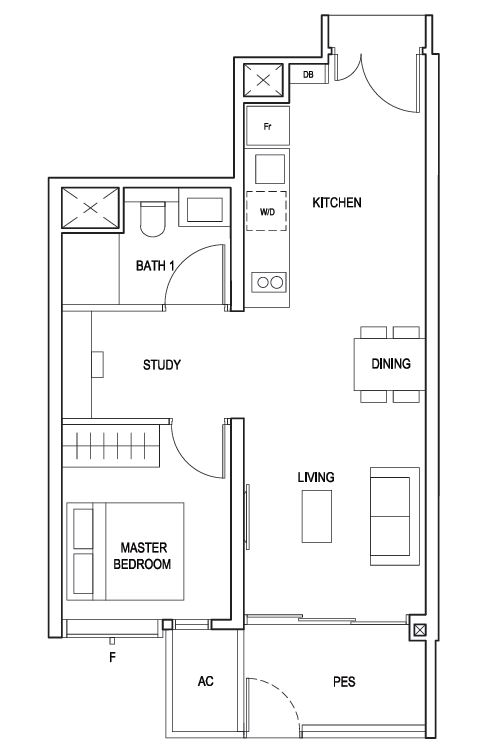 Penrose floor plan 1 Bedroom with Study