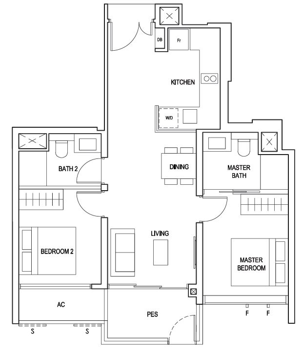 Penrose floor plan 2 Bedroom Premium