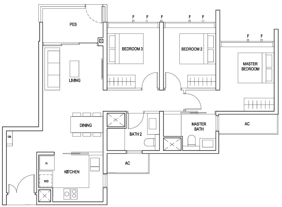 Penrose floor plan 3 Bedroom Classic