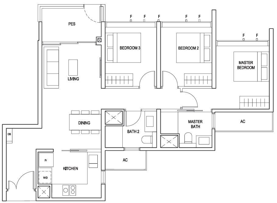 Penrose floor plan 3 Bedroom Classic