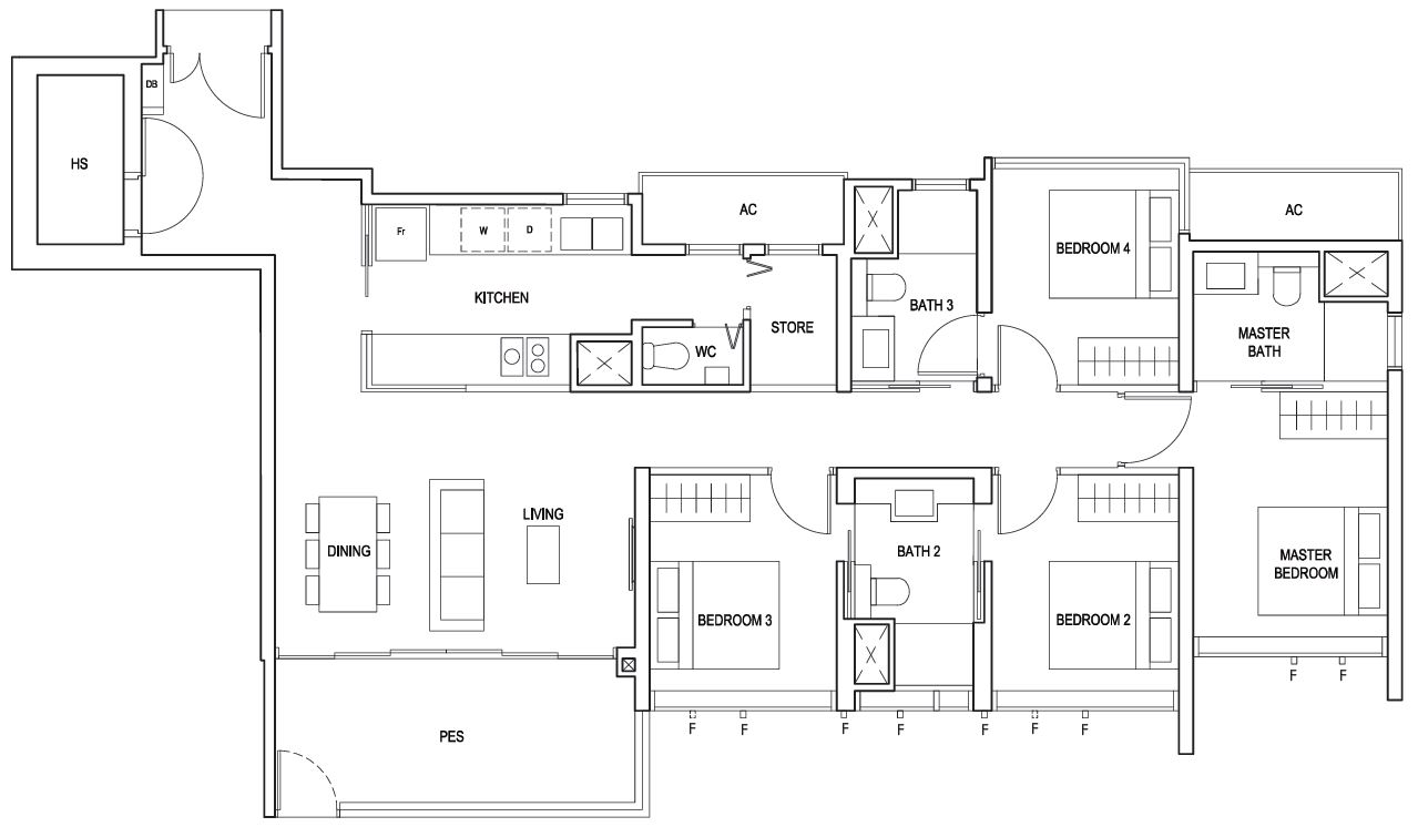 Penrose floor plan 4 Bedroom